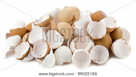 Heap of broken egg shells isolated on white background