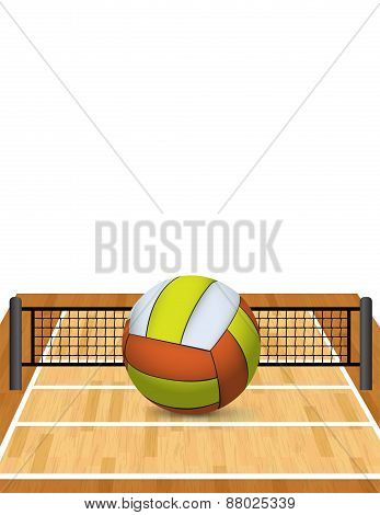 Volleyball On A Court Illustration