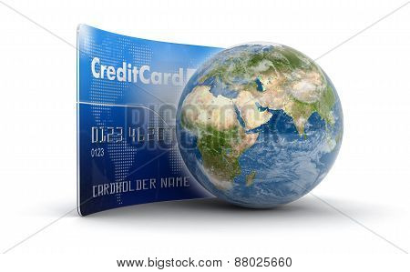 Credit Card and Globe (clipping path included)