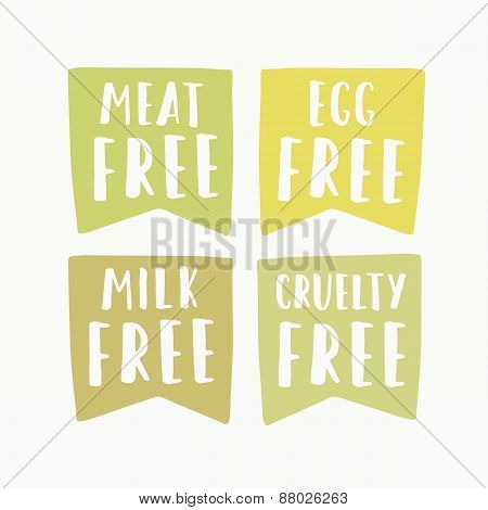 Meat, egg, milk, cruelty free labels.