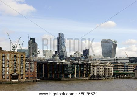 High-rise buildings along the River Thames