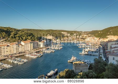 Bonifacio Harbour And Boats In The South Of Corsica