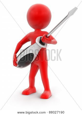 Man and Screwdriver (clipping path included)