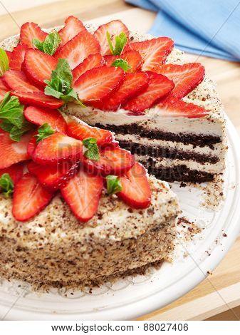 Homemade Chocolate Cake With Strawberries