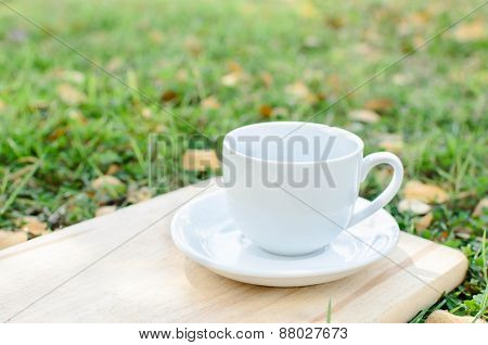 Blank Coffee Cup On Wooden Board With Grass And Natural Light.