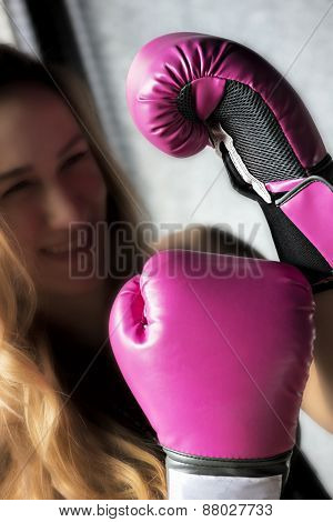 Boxing Woman with Pink Gloves