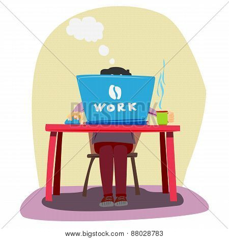 Freelancer. A man working at a computer. Vector illustration.