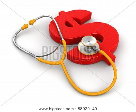 stethoscope and Dollar (clipping path included)