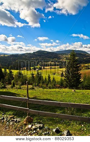 Mountain road and landscape at autumn sunny day, Radocelo mountain