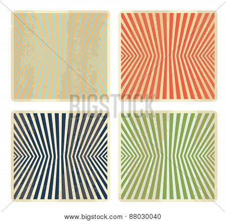 Vintage set, collection, group of four grunge, striped backgrounds, banners, design elements