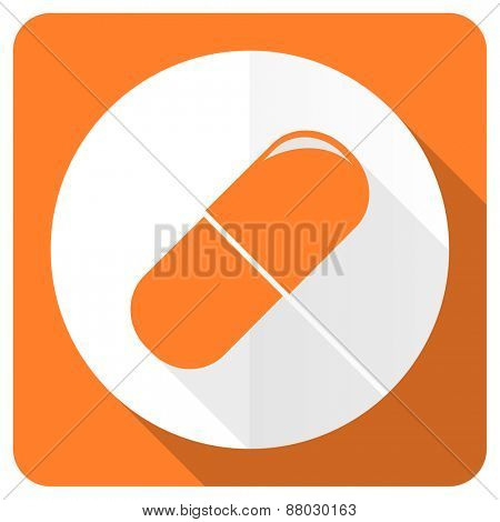 drugs orange flat icon medical sign