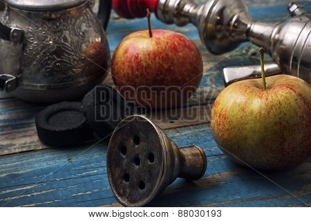 Details Smoking Hookah On Background Of Apples