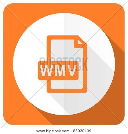 wmv file orange flat icon