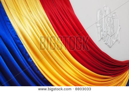 Moldovan Flag With Coat Of Arms