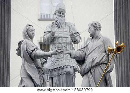 VIENNA, AUSTRIA - DECEMBER 11: The famous monument showing the engagement of Mary and Joseph located in the first district of Vienna, Austria on December 11, 2011.