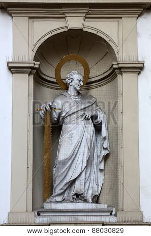 VIENNA, AUSTRIA - OCTOBER 10: St. Simon the Apostle, Church of Saint Peter in Vienna, Austria on October 10, 2014.