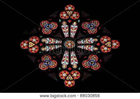 VIENNA, AUSTRIA - OCTOBER 11: Stained glass in Votiv Kirche (The Votive Church). It is a neo-Gothic church located on the Ringstrabe in Vienna, Austria on October 11, 2014