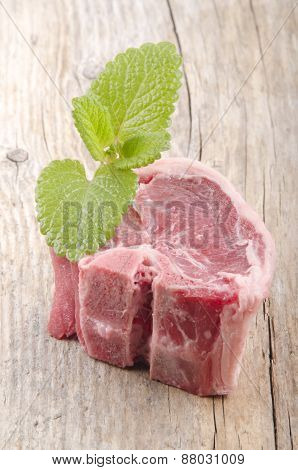 Lamb Chop With Mint On Wood