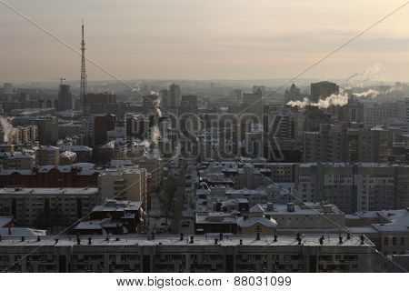 YEKATERINBURG, RUSSIA - JANUARY 5, 2011: Panoramic view of the historical centre of Yekaterinburg, Russia, pictured from the viewing point at the Antei Skyscraper.