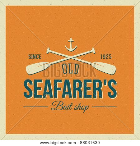 Vintage Nautical Vector Label or Logo with Retro Print Look