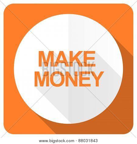 make money orange flat icon