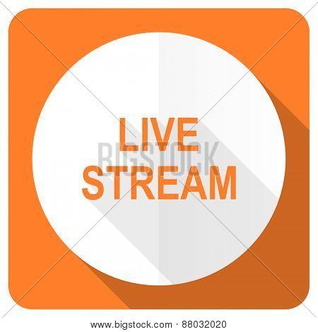 live stream orange flat icon