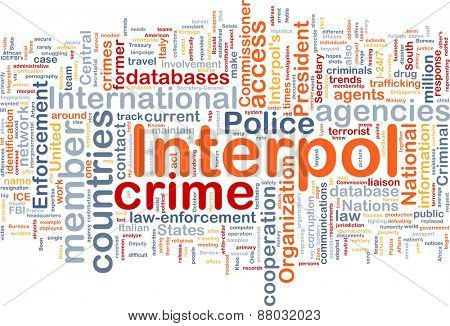 Background concept wordcloud of Interpol  organization