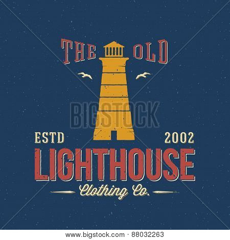 The Old Lighthouse Clothing Co. Nautical Abstract Vector Retro Label or Logo Template
