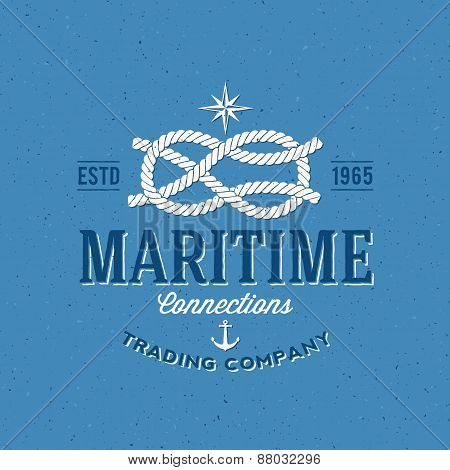 Retro Navy Trading Company Vector Label or Logo Template