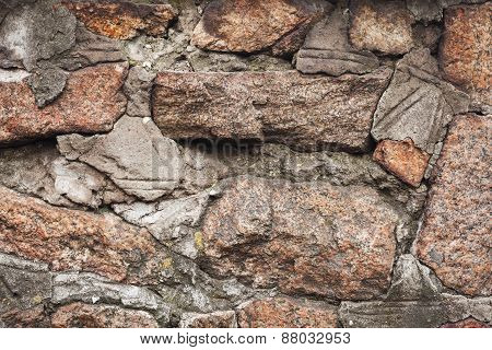 Wall. Natural Granite Stone Texture Background. Rough And Rusty. Close-up
