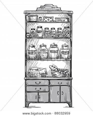 Kitchen cupboard, kitchen shelves, hand drawn