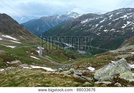 Great St. Bernard Pass (switzerland) Summer Landscape.