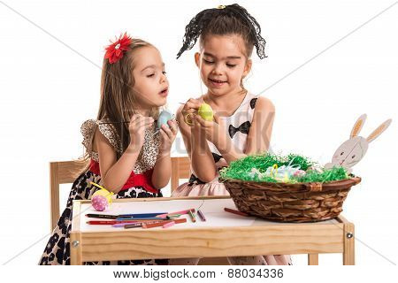 Girls Painting Easter Eggs