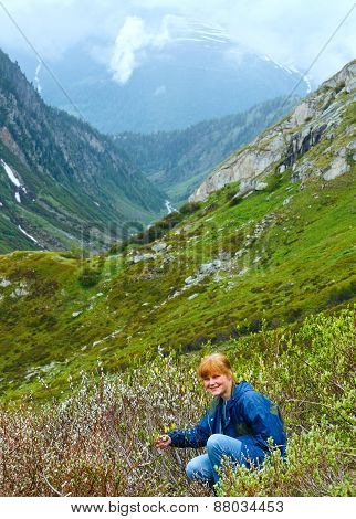 Woman In Summer Mountain (st. Gotthard Pass, Switzerland).