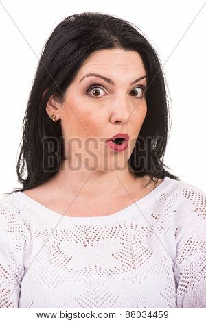 Close Up Of Surprised Woman Face