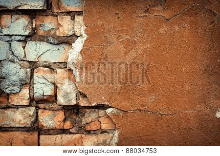 Background Of Colorful Brick Wall Texture. Brickwork. Peeling Pa
