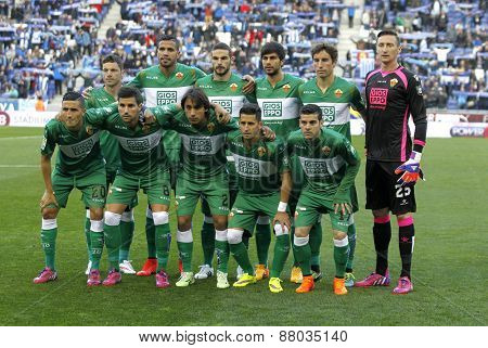 BARCELONA - APRIL, 6: Elche CF lineup before a Spanish League match against RCD Espanyol at the Estadi Cornella on April 6, 2015 in Barcelona, Spain