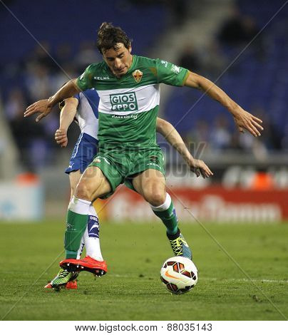 BARCELONA - APRIL, 6: Pedro Mosquera of Elche CF during a Spanish League match against RCD Espanyol at the Estadi Cornella on April 6, 2015 in Barcelona, Spain