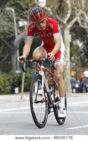 BARCELONA - MARCH, 29: Steve Chainel of Cofidis Team rides during the Tour of Catalonia cycling race through the streets of Monjuich mountain in Barcelona on March 29, 2015