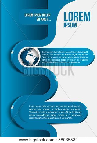Blue abstract background of a brochure with globe and 3d wave