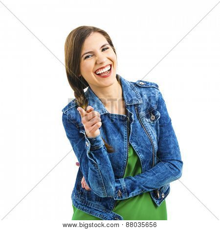 Beautiful woman laughing, isolated over a white background