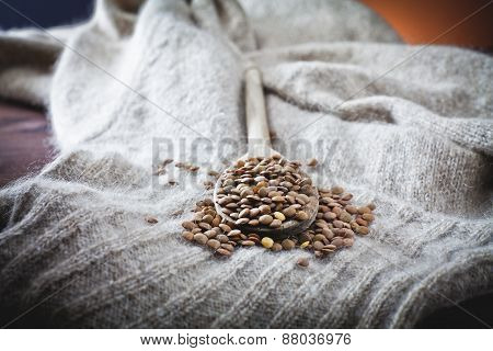 handful of lentils in the sack