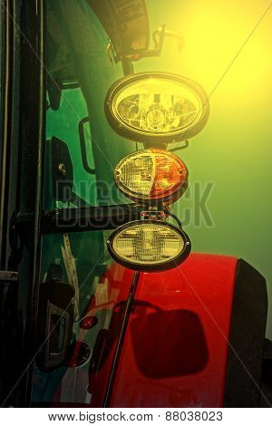 Agricultural Equipment In Sunset Light. Detail 26