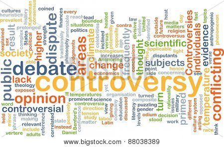 Background text pattern concept wordcloud illustration of controversy