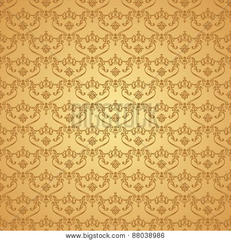 seamless vintage background. Calligraphic pattern. Royal elegant ornament gold wallpaper
