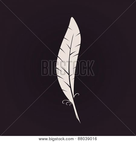 Feather sign icon. Retro Logo ink pen. Calligraphic logotype raster