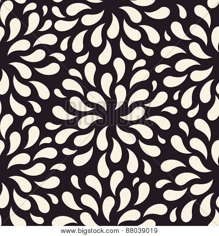 seamless pattern. Flower vintage backgrounds drops on foliage plants
