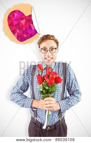 Geeky hipster holding a bunch of roses against heart