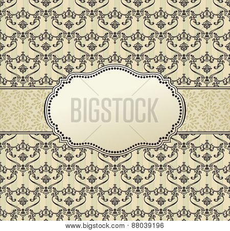 invitation art frame package label vintage with retro abstract seamless batskground