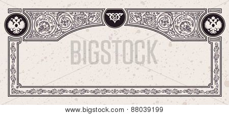 Calligraphic vintage frame. certificate or coupon template design elements